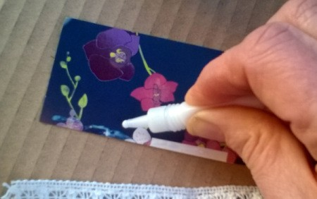 Card and Lace Bookmark - apply glue to one long side