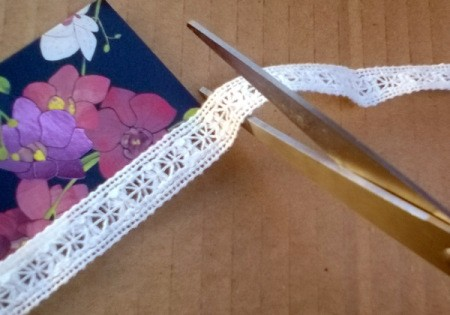Card and Lace Bookmark - stick down lace and cut to fit