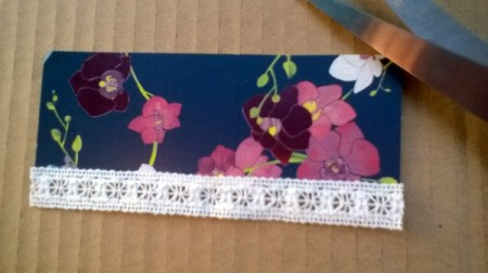 Card and Lace Bookmark - one edge done