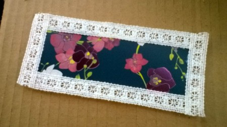 Card and Lace Bookmark - repeat with other long edge and then do both short ends