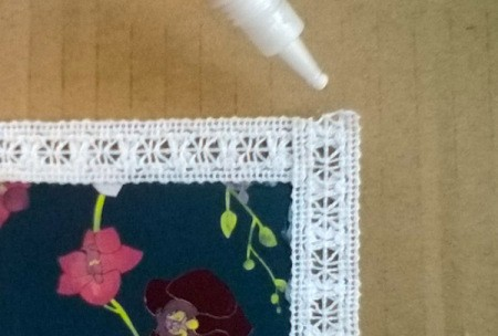 Card and Lace Bookmark - use glue on cut edges of lace to prevent fraying