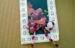 Card and Lace Bookmark - flowered bookmark