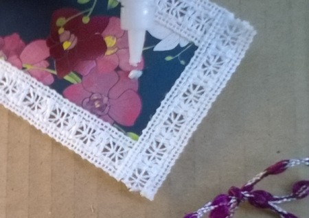 Card and Lace Bookmark - glue to bookmark