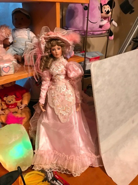 Identifying a Porcelain Doll - doll in fancy 1890s style pink dress