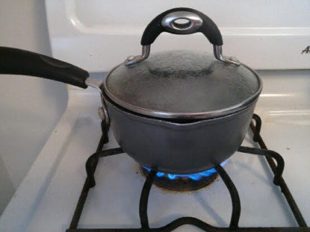 boiling water on stove.