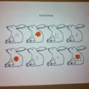 Printable Easter Bingo and Stamp Games - in process game with marker spots on bunny page