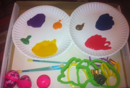 Easter Eggs and Cookie Cutter Paintings - supplies