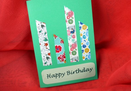 Candle Birthday Card - cut differing lengths of tape to make additional candles