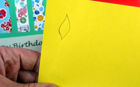 Candle Birthday Card - draw and cut flames out of yellow paper