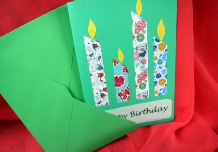 Candle Birthday Card - finished card and envelop