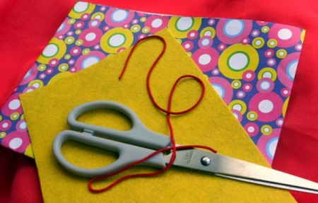 Birthday Parcel Card - gift wrap, cord, felt, and scissors - supplies