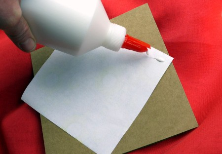 Birthday Parcel Card - Apply glue to the reverse side of the gift wrap.