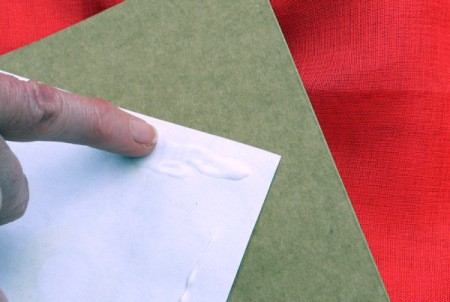 Birthday Parcel Card - spreading glue with finger