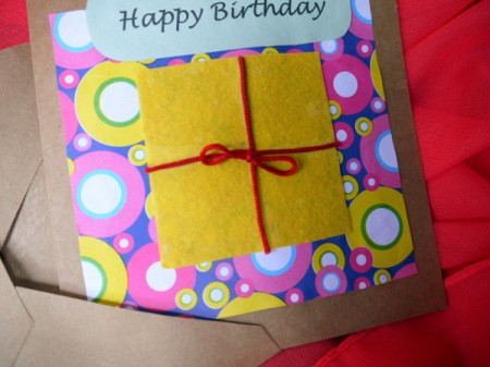 Birthday Parcel Card - glue greeting in place