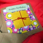 Birthday Parcel Card - finished card with matching envelop