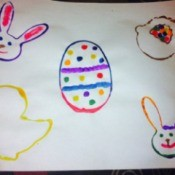 Easter Eggs and Cookie Cutter Paintings - finished page with bunnies, chick, and basket