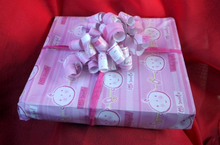 How to Make a Matching Curly Gift Bow - finished gift wrap with handmade bow