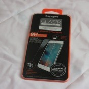 A tempered glass screen protector for a smartphone.