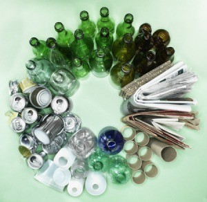 Recycling materials arranged in a circle.