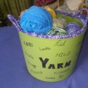 Multi-linguistic Yarn Tub - finished tub filled with yarn