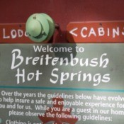 "A ""Welcome to Breitenbush Hot Springs"" sign."