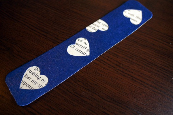 Punched Paper Bookmark - dark blue paper bookmark with heart cut outs