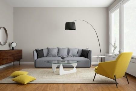 Modern scandinavian living room with grey sofa