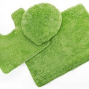 3 green bathroom throw rugs