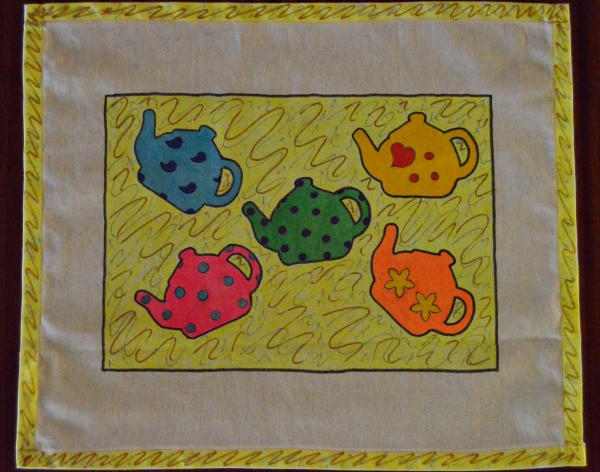 Tea is Served! - Tea Tray Cloth - colorful finished cloth with 5 teapots