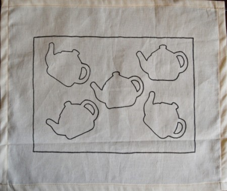 Tea is Served! - Tea Tray Cloth - Use the light table and a pencil to transfer five tea pots to the cloth. Then, use the black Giotto pen to draw over all the pencil lines.