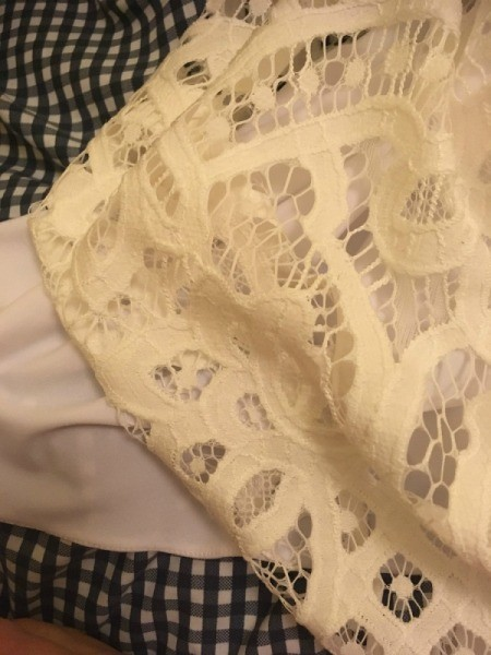 Making an Egg Shell Colored  Dress Whiter - lace against the white slip
