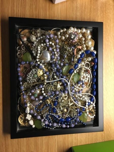 Using Decoupage Glue to Attach Jewelry to Glass - jewelry inside frame