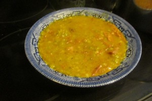Leftover Corned Beef Split Pea Soup in a bowl