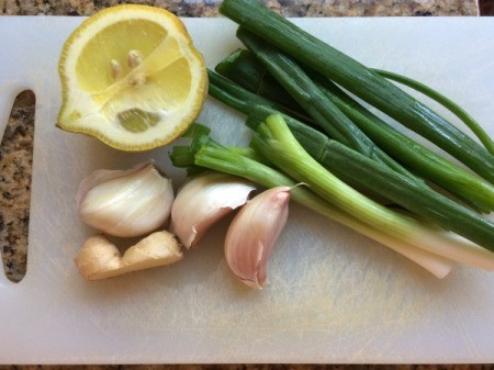 lemon, green onions, and garlic