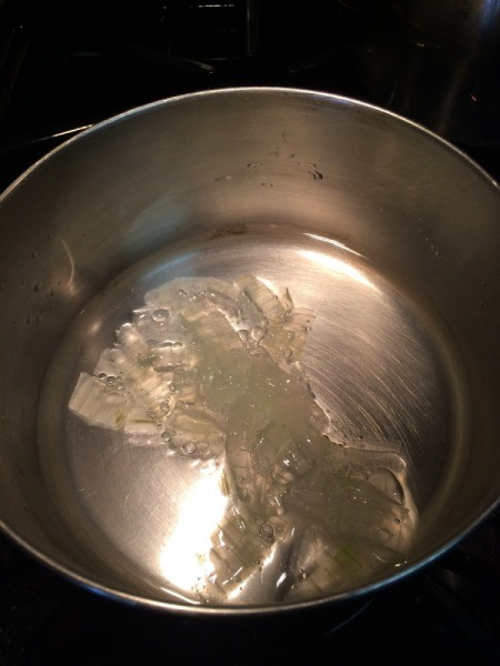 Aloe and water in pan