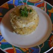 Microwave Cheesy Breakfast-in-a-Mug on a plate