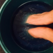 A foot bath made from mouthwash and vinegar.