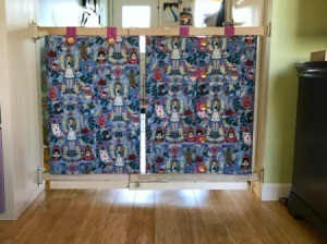 Fabric Cover for Baby Gate - finished fabric covered gate