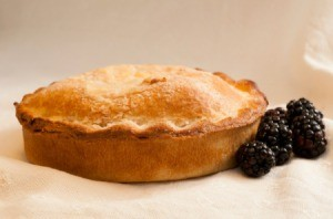 Seedless Blackberry Pie on a white background.
