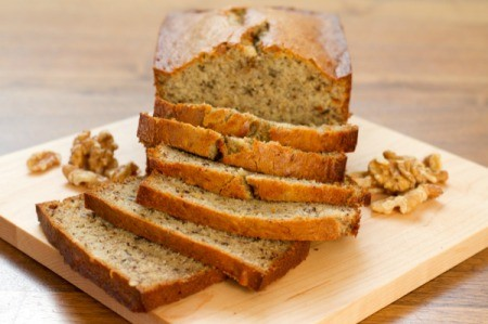 Sliced moist banana bread.