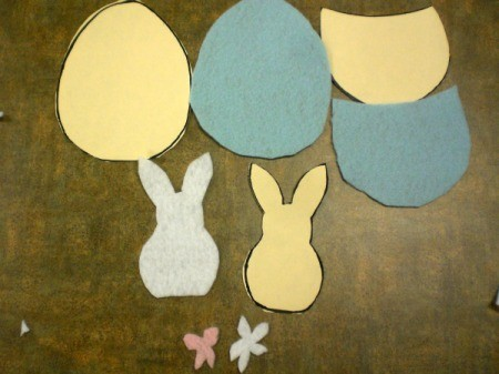 Spring Magnet or Easter Basket Decoration - egg parts and bunny felt cut outs