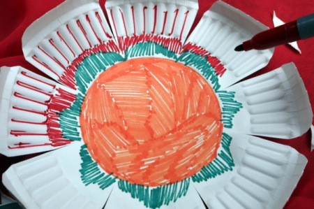 Paper Plate Flower - adding more color around center and out onto the petals