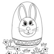 Easter Egg Hunt Kids' Coloring Page - line drawing of an Easter egg decorated with a bunny head