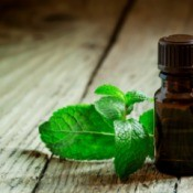 Peppermint essential oil bottle with a sprig of fresh mint.