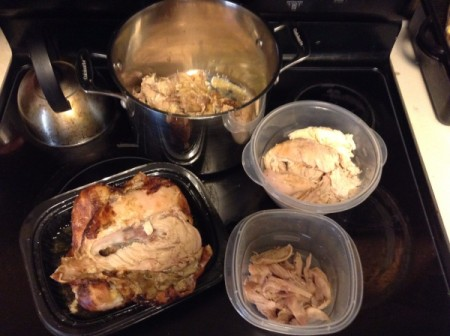 A rotisserie chicken being taken apart and made into soup.