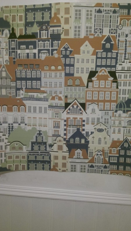 Discontinued Sandberg Wallpaper - multiple building facades