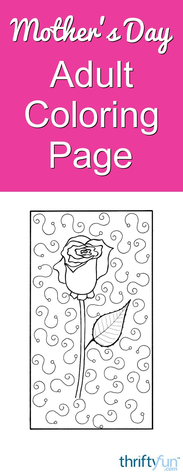 Mother\'s Day Rose Adult Coloring Page | ThriftyFun
