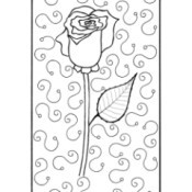 Mother's Day Rose Adult Coloring Page - single rose bud with squiggles in background