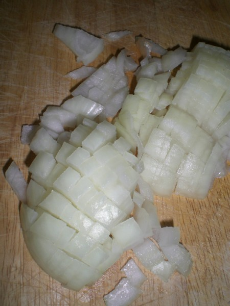 chopped onion for carrot ginger soup.