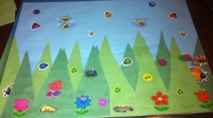 Spring Day Project Using Stickers - second example of grass and sticker project